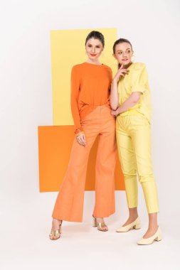 beautiful stylish young women posing with turmeric and limelight on background
