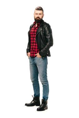 bearded rocker posing in black leather jacket isolated on white
