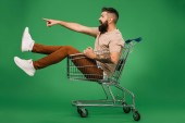 Fotografie excited bearded man showing something while sitting in shopping cart isolated on green