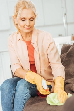 Senior woman in rubber gloves cleaning sofa with spray and rag