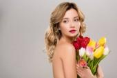 Fotografia donna nuda giovane primavera che tiene il mazzo di tulipani variopinti isolata su grey