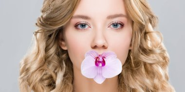 Young woman holding purple orchid in mouth isolated on grey stock vector