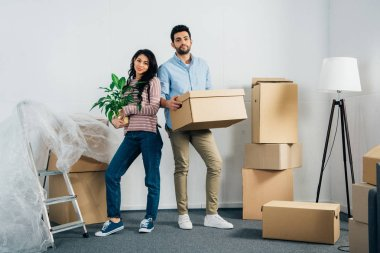 happy latin woman holding plant near husband with box while moving into new home