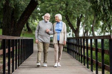 smiling senior couple talking while walking across wooden bridge in park