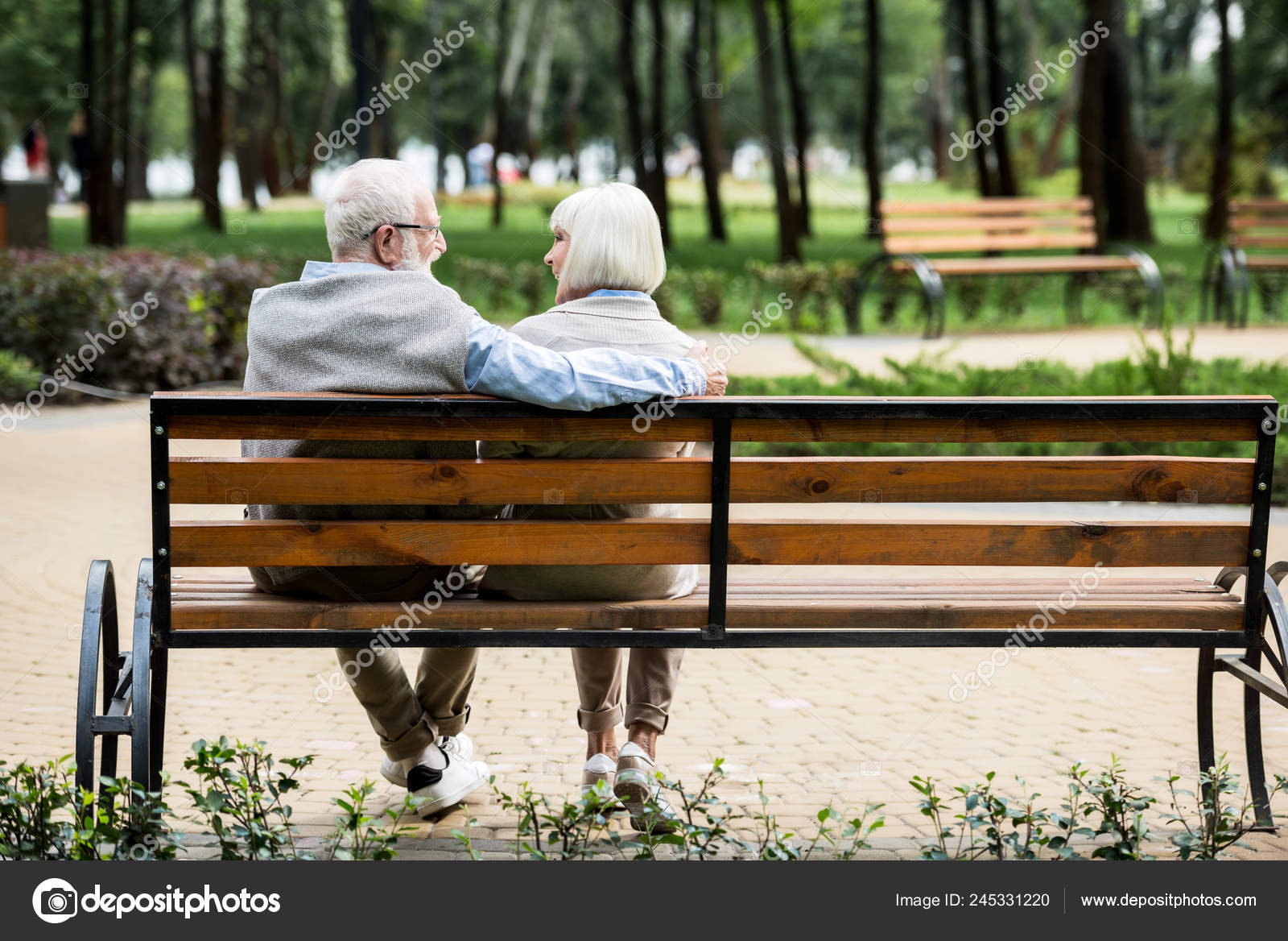 Swell Senior Couple Sitting Wooden Bench Park Stock Photo Ocoug Best Dining Table And Chair Ideas Images Ocougorg