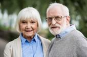 usmíval se šťastný starší pár a při pohledu na fotoaparát