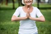 vezető nő meditáció sukhasana ülő pózban, összekulcsolt kézzel vágott megtekintése