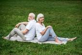 smiling senior couple relaxing on yoga mats in park