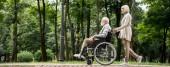 Seniorin mit Mann im Rollstuhl geht im Park spazieren