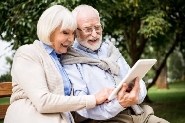smiling senior couple using digital tablet while sitting on bench in park