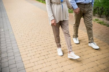 cropped view of senior couple walking across paved sidewalk in park