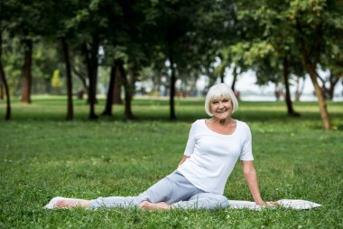 smiling senior woman relaxing on yoga mat on green park lawn