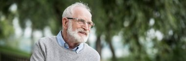 happy smiling senior man in grey pullover and glasses in park