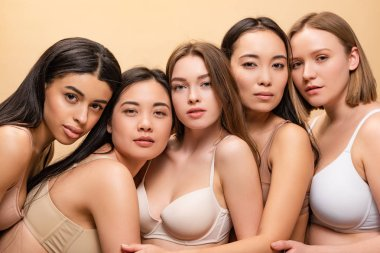 five beautiful multicultural women posing at camera together isolated on beige