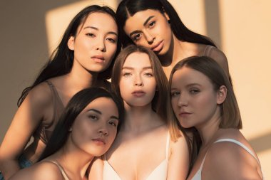 five beautiful multicultural young women looking at camera in sunlight