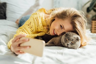 Beautiful smiling young woman taking selfie on smartphone while lying in bed with scottish fold cat stock vector