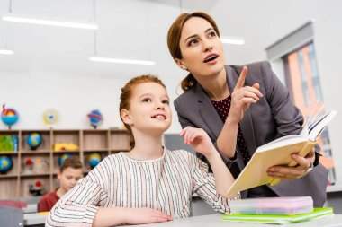 Teacher standing near desk and explaining lesson to pupil in classroom