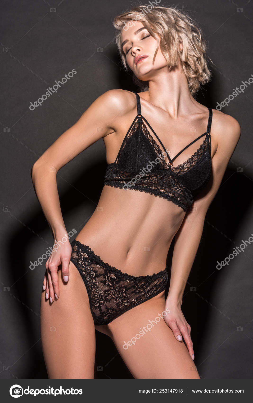 Gorgeous sexy blondes in lingerie Beautiful Sexy Blonde Girl Lace Lingerie Posing Black Stock Photo By C Allaserebrina 253147918