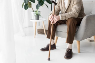 cropped view of senior man sitting in armchair with walking cane