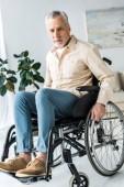 Fotografie ältere Mann im Rollstuhl zu Hause sitzen und Blick in die Kamera deaktiviert