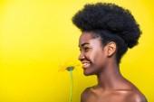 Usměté africká americká dívka držící květinu a dívá se na žlutou