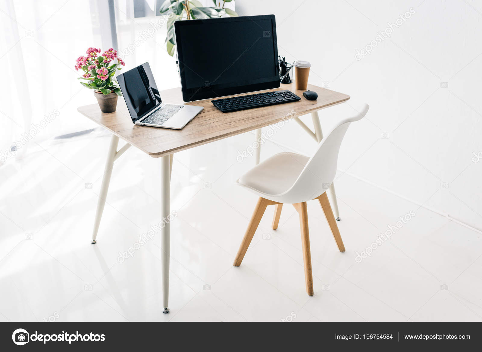 Interior Workplace Chair Flowers Coffee Stationery Laptop