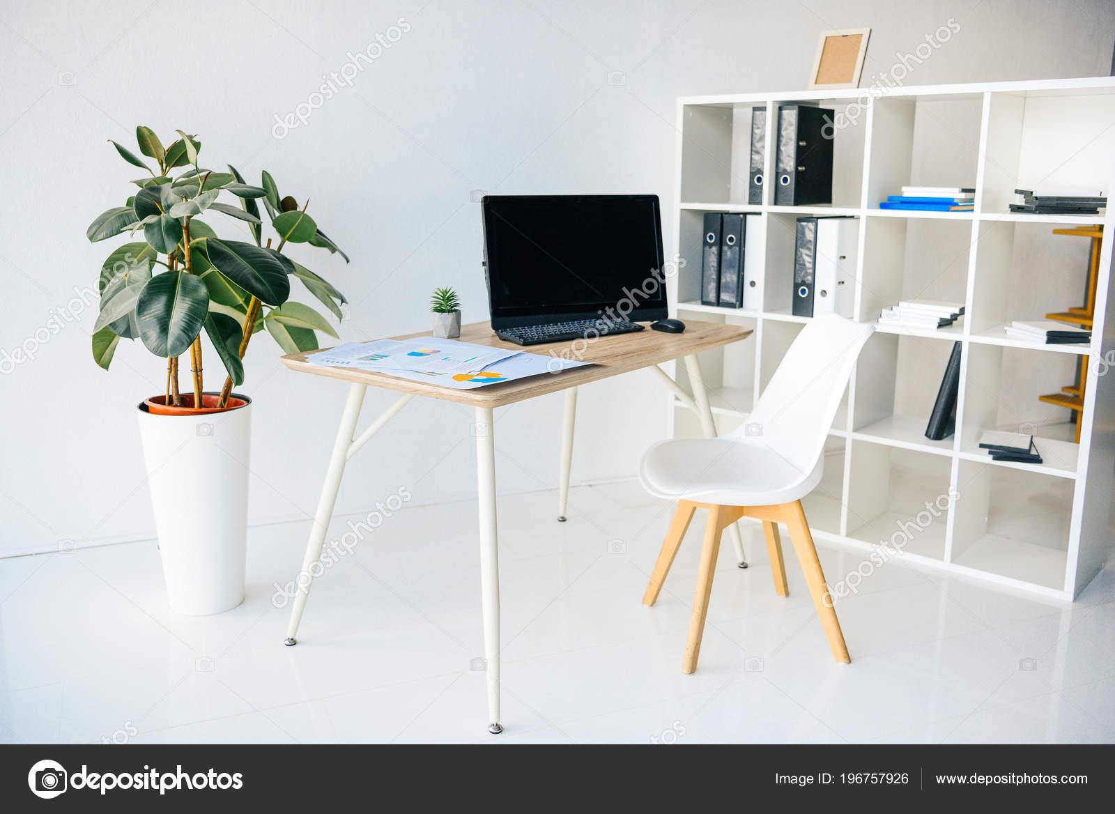 Intérieur salle bureau moderne avec les plantes pot chaise table
