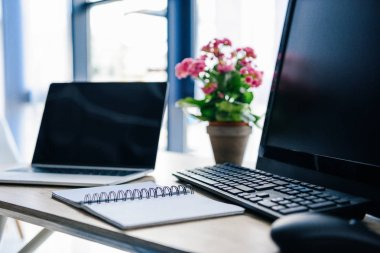 close up view of empty textbook, laptop, flowers in pot, computer, computer keyboard and computer mouse at table