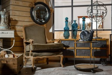 iç modern retro oturma odası koltuk, Masa ve dekorasyon tarz