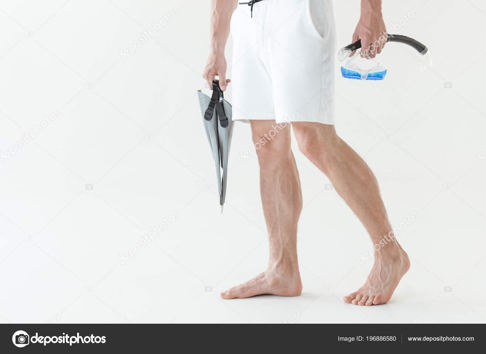 Costumi Da Bagno Bianco Uomo : Vista potata dell uomo costume bagno con maschera boccaglio