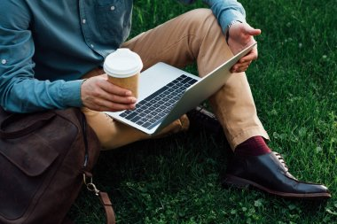 cropped shot of freelancer holding paper cup and using laptop while sitting on grass
