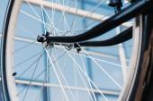 Detailní pohled na jízdní kolo s pneumatikou, Selektivní ostření