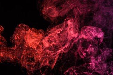 Red spiritual smoky swirl on black background stock vector