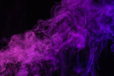 Mystical purple smoke on black background stock vector