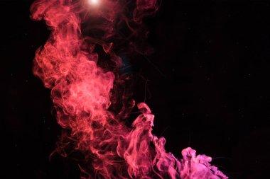 Pink spiritual smoky swirl with light on black background stock vector