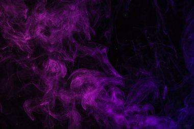 Purple smoky swirl on black background stock vector