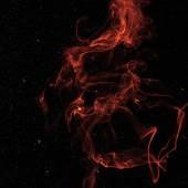 červené duchovní kouře v prostoru s hvězdami na černém pozadí
