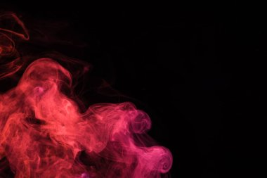 Black background with pink mystical smoke stock vector