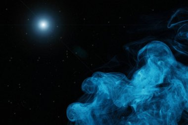 Blue smoke and light on black background stock vector