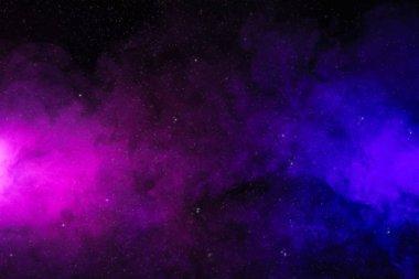 """Картина, постер, плакат, фотообои """"Абстрактная розовый и фиолетовый дым на черном фоне, как пространство с звездами """", артикул 198498284"""