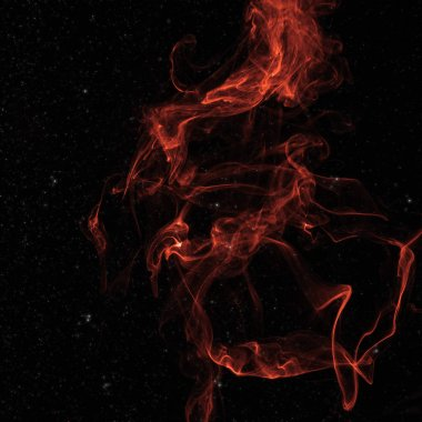red spiritual smoke in space with stars on black background