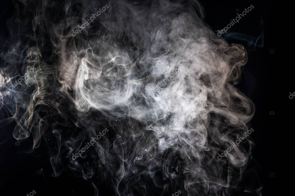 abstract background with grey smoky swirl on black