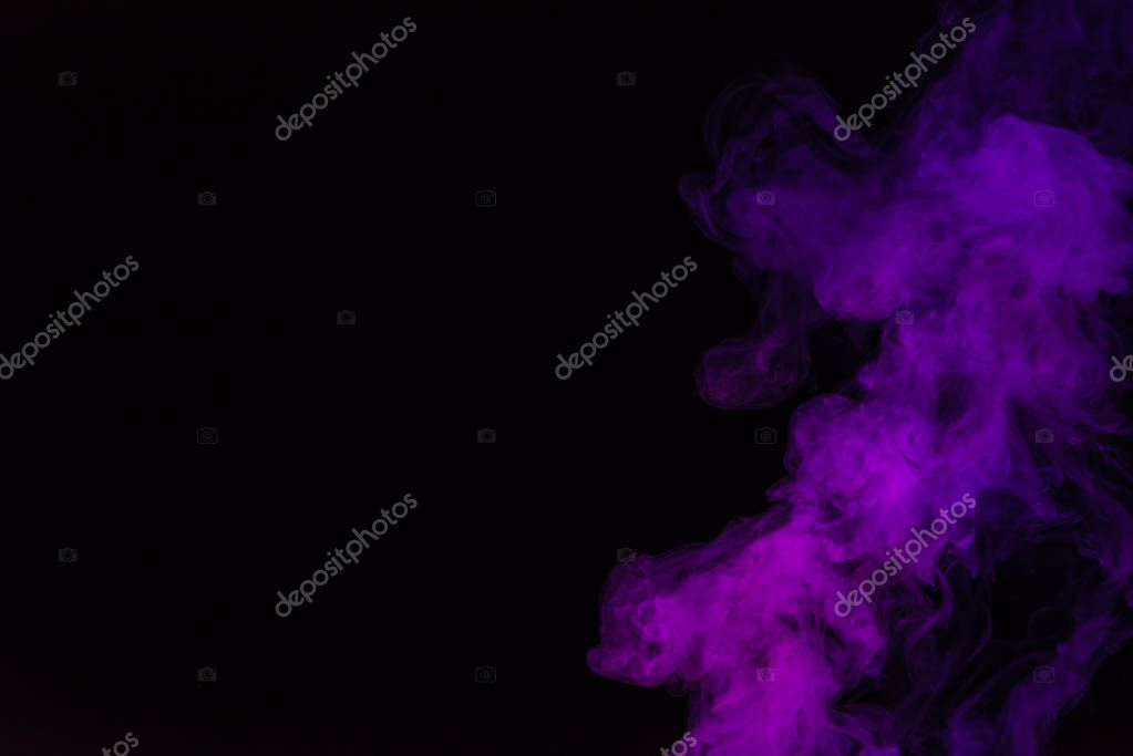 black background with purple smoke with copy space