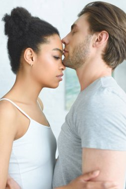 side view of tender multiethnic couple in love at home