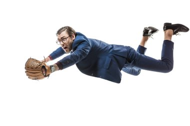 businessman in baseball glove falling and looking away isolated on white
