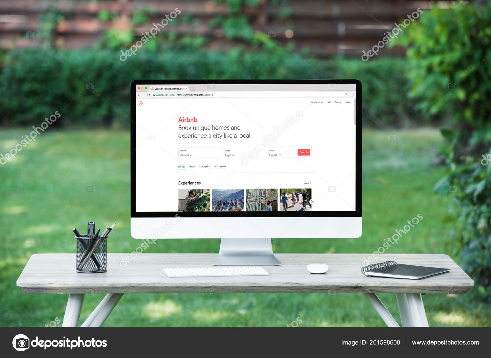 Selective Focus Computer Airbnb Website Table Outdoors
