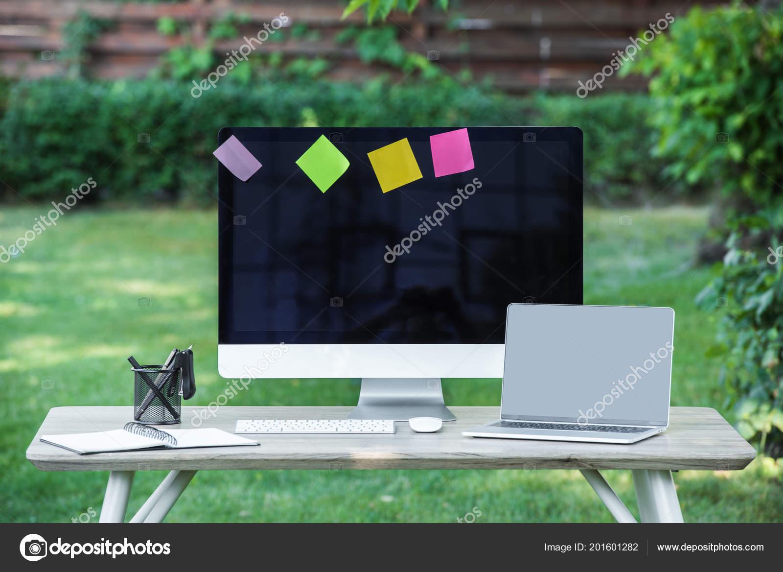 Selective Focus Textbook Laptop Computer Blank Screens Stick Notes