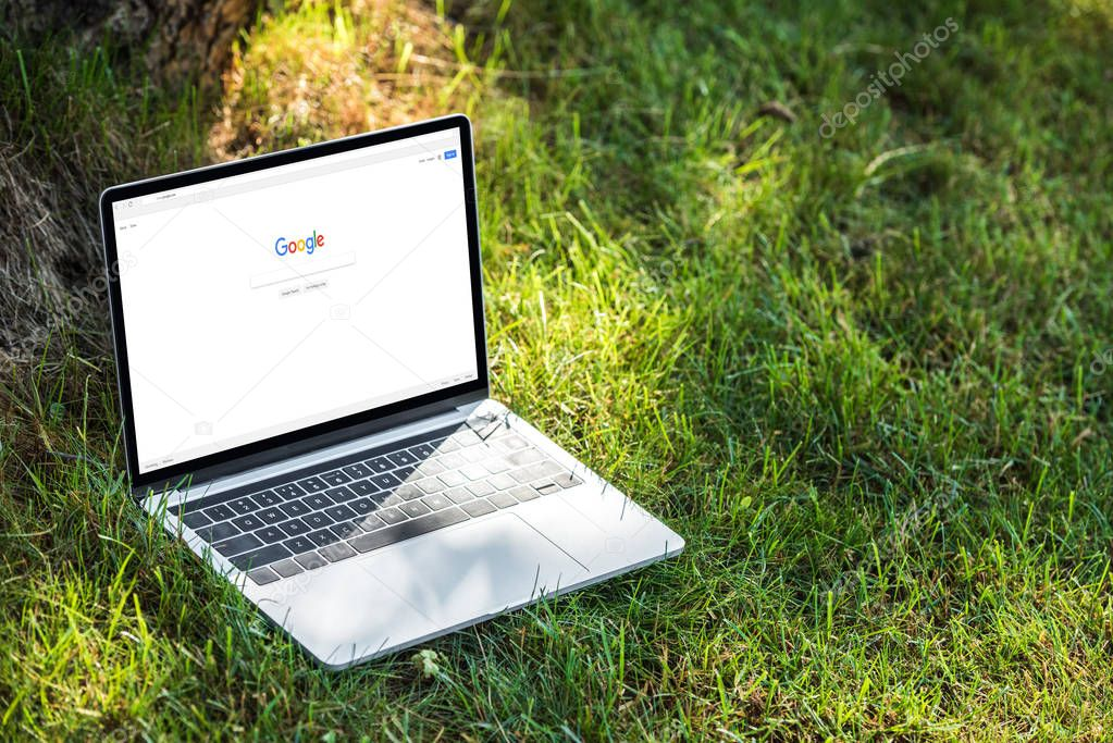 close up view of laptop with google website on grass outdoors