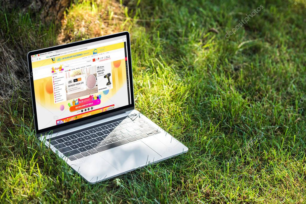 close up view of laptop with aliexpress website on grass outdoors
