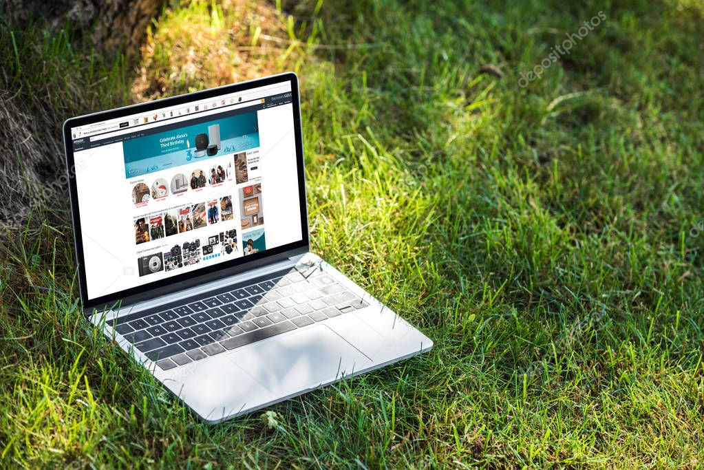 close up view of laptop with amazon website on grass outdoors